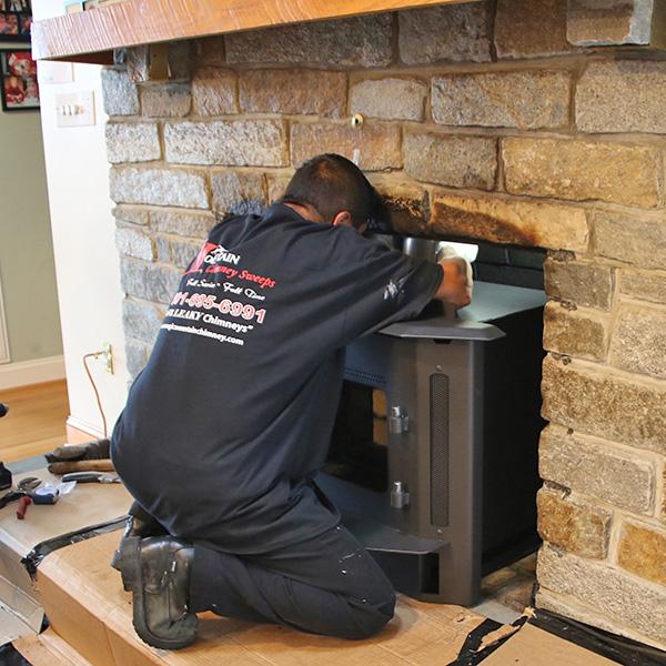 Wood burning fireplace insert repair